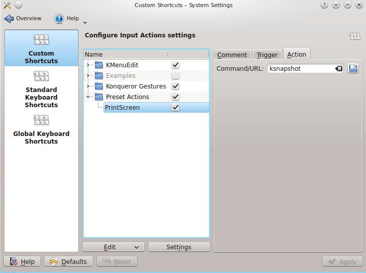 Настройка Print Screen в Ubuntu + KDE