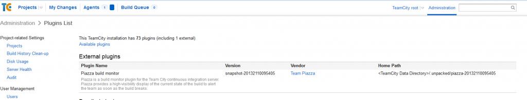 TeamCity: установка Team Piazza