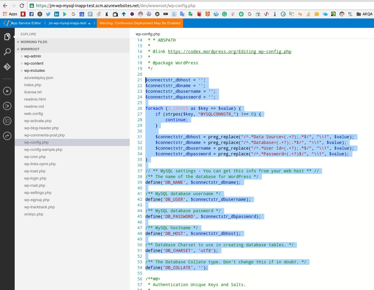 Azure: настройка MySQL in-app (Preview) для Web Apps и сравнение с