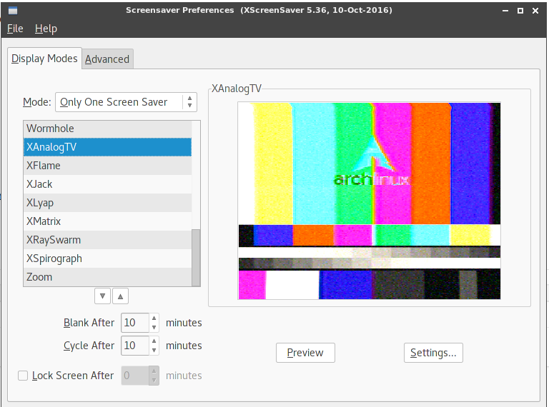 Arch: screensaver и блокировка экрана