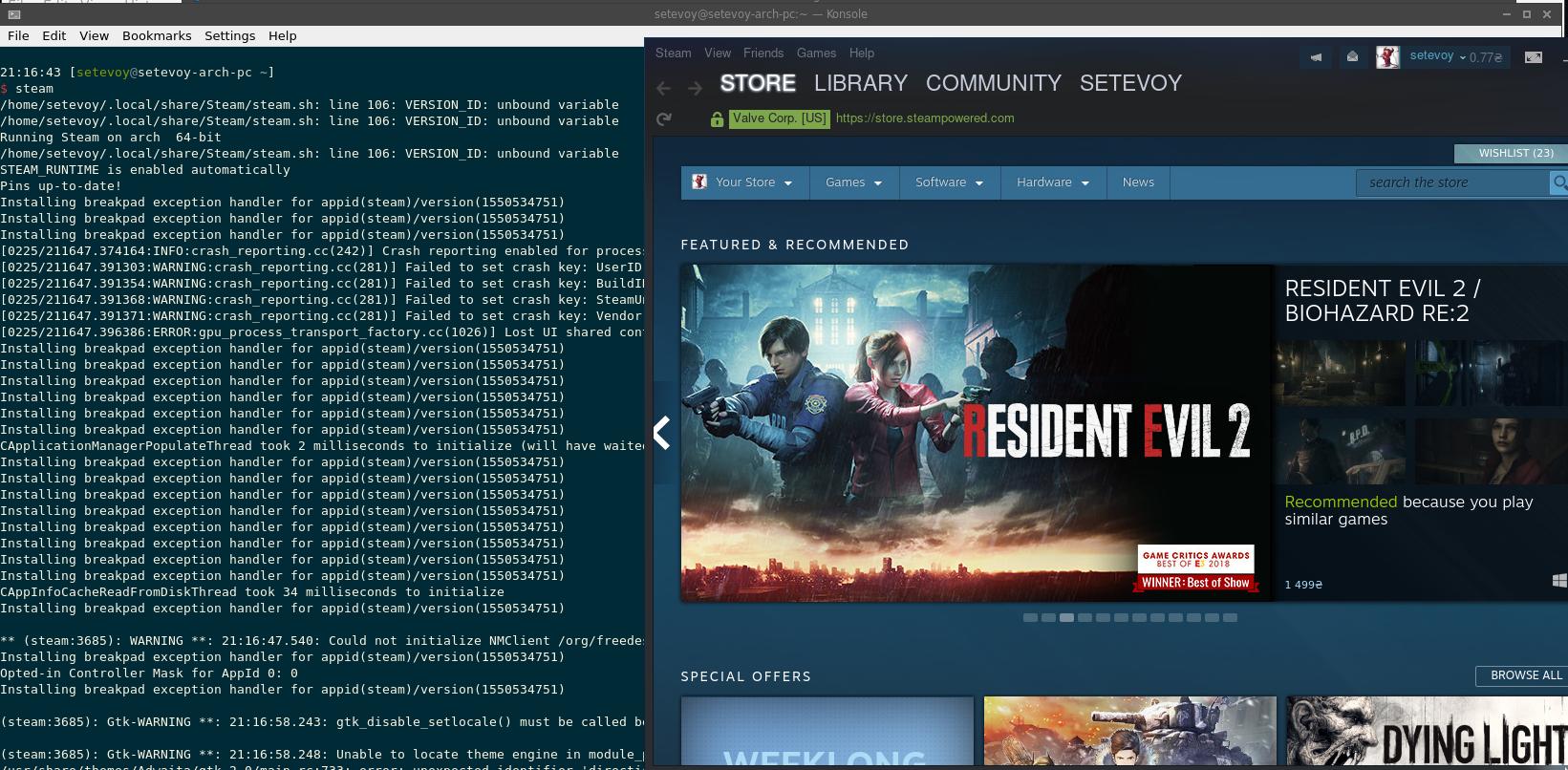 Arch Linux: Steam installation
