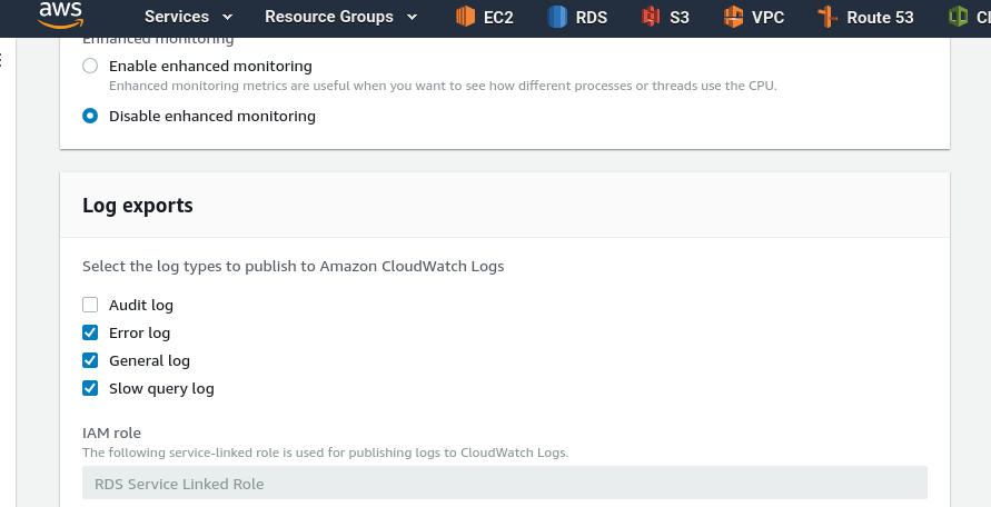 AWS: RDS logs, export to the CloudWatch Logs and CloudFormation template