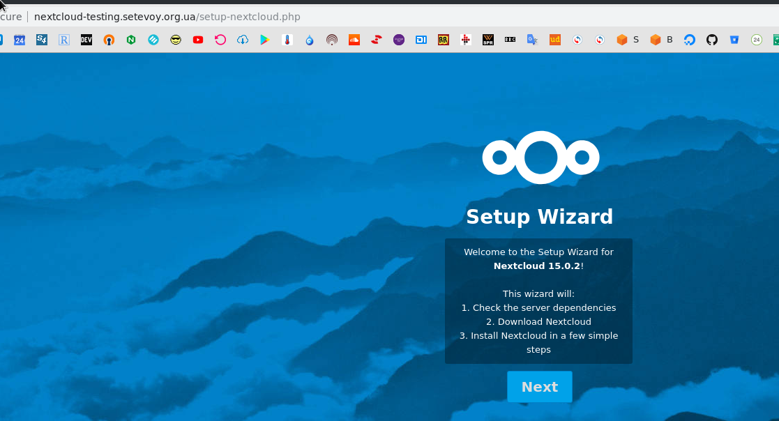 NextCloud: installing server on Debian behind NGINX with PHP