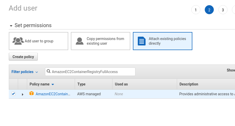 AWS: create an Elastic Container Registry and Jenkins deploy